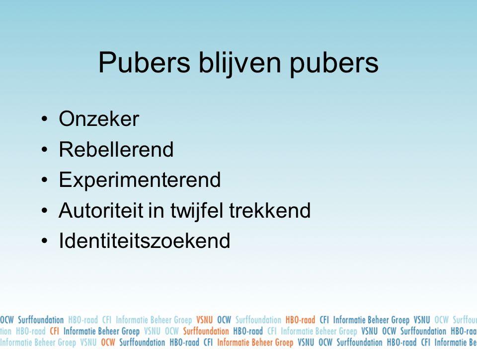 Pubers blijven pubers •Onzeker •Rebellerend •Experimenterend •Autoriteit in twijfel trekkend •Identiteitszoekend