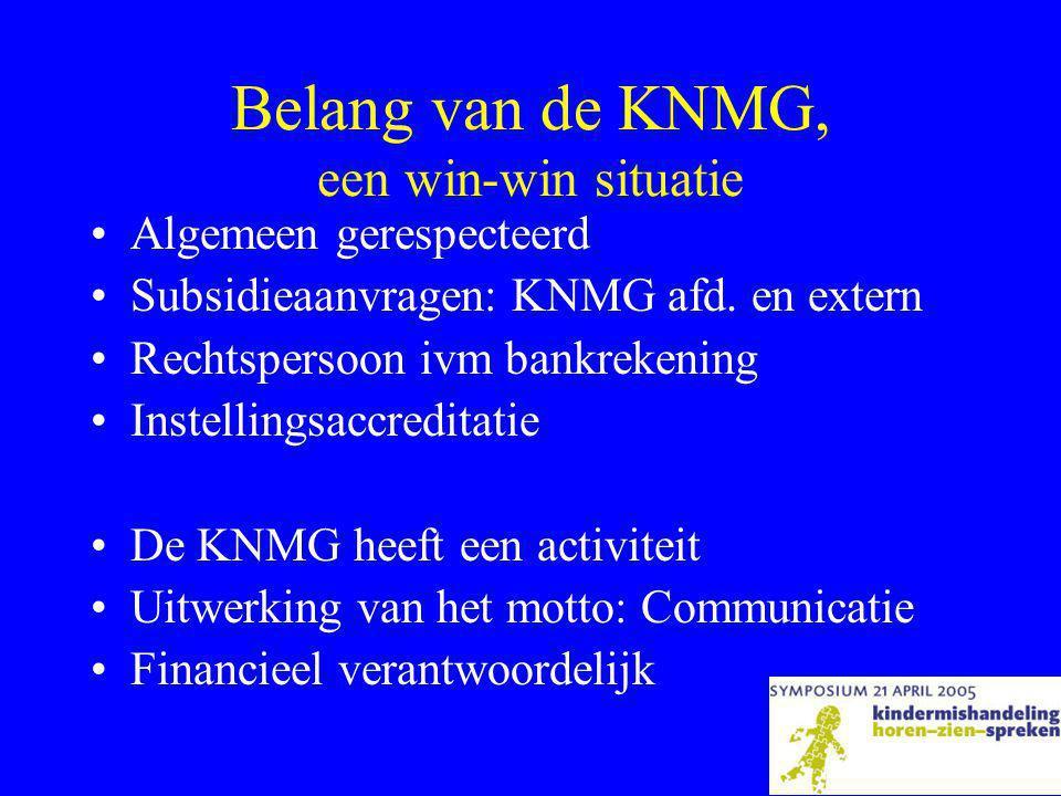 Belang van de KNMG, een win-win situatie •Algemeen gerespecteerd •Subsidieaanvragen: KNMG afd.