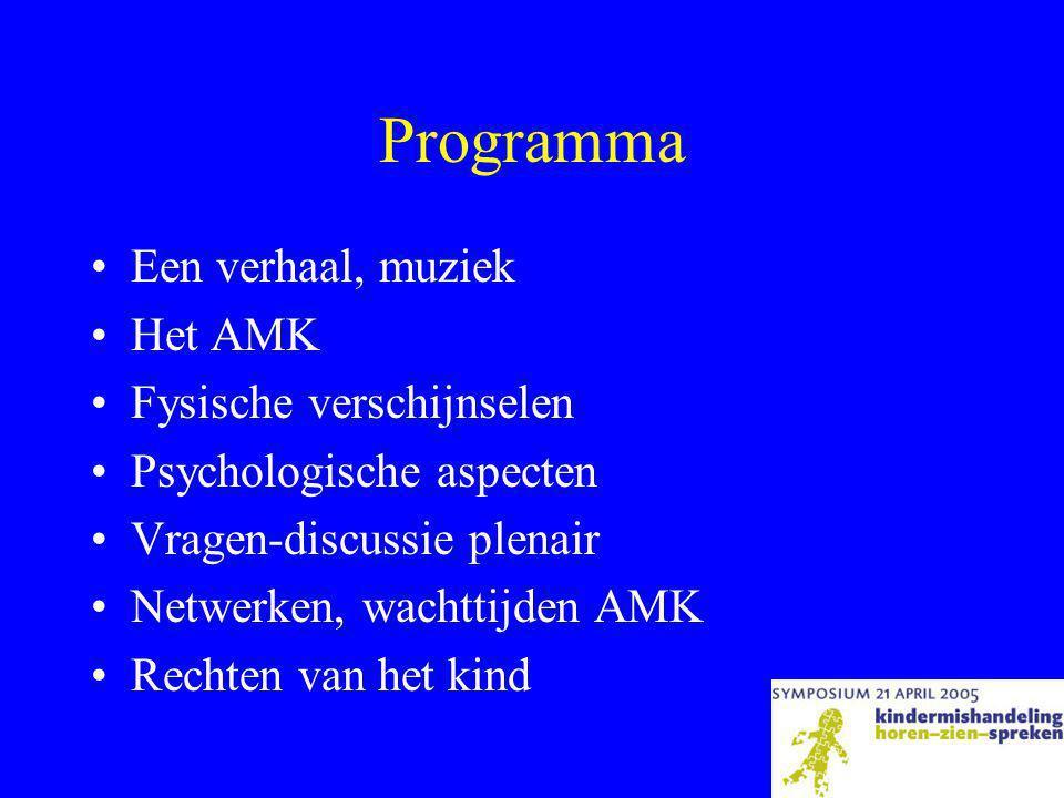 Programma •Een verhaal, muziek •Het AMK •Fysische verschijnselen •Psychologische aspecten •Vragen-discussie plenair •Netwerken, wachttijden AMK •Rechten van het kind