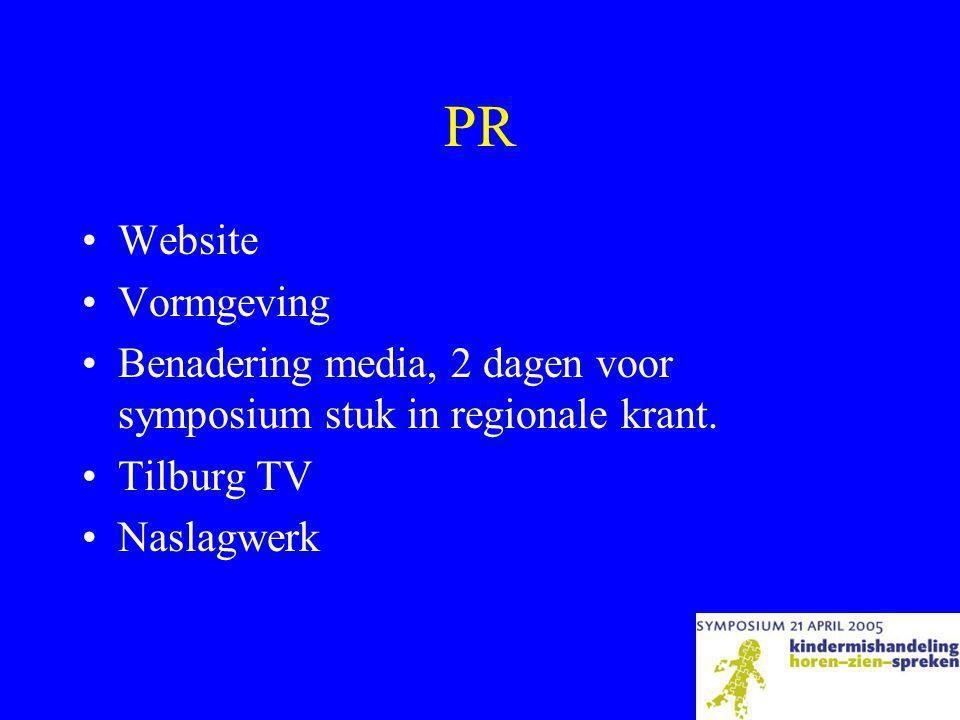 PR •Website •Vormgeving •Benadering media, 2 dagen voor symposium stuk in regionale krant.