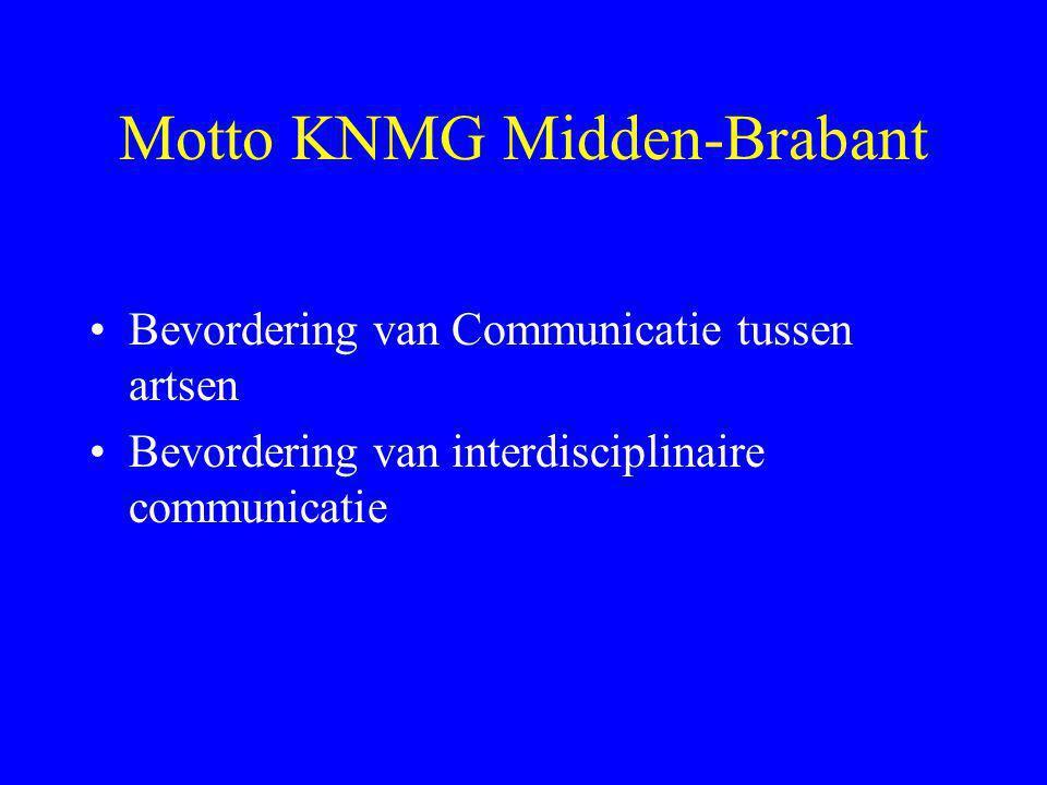 Motto KNMG Midden-Brabant •Bevordering van Communicatie tussen artsen •Bevordering van interdisciplinaire communicatie