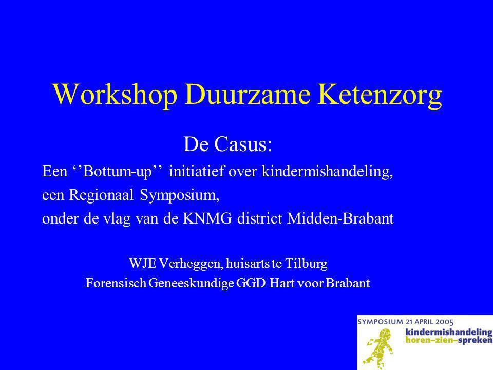 Workshop Duurzame Ketenzorg De Casus: Een ''Bottum-up'' initiatief over kindermishandeling, een Regionaal Symposium, onder de vlag van de KNMG district Midden-Brabant WJE Verheggen, huisarts te Tilburg Forensisch Geneeskundige GGD Hart voor Brabant