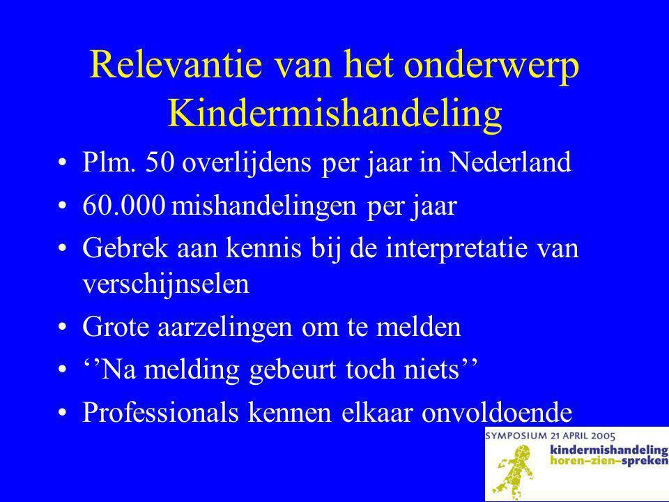 Ontstaan van het initiatief •Weinig kennis bij huisartsen •Interesse in cursus Kindermishandeling •Stuk in krant •Adhesie voor idee van een symposium