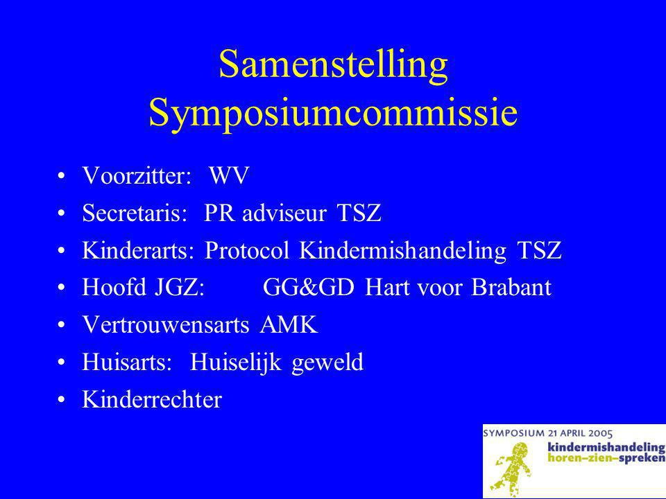 Samenstelling Symposiumcommissie •Voorzitter: WV •Secretaris: PR adviseur TSZ •Kinderarts: Protocol Kindermishandeling TSZ •Hoofd JGZ: GG&GD Hart voor Brabant •Vertrouwensarts AMK •Huisarts:Huiselijk geweld •Kinderrechter