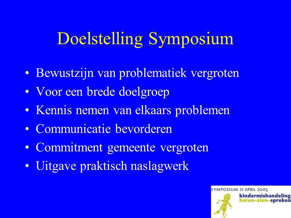 Doelstelling Symposium •Bewustzijn van problematiek vergroten •Voor een brede doelgroep •Kennis nemen van elkaars problemen •Communicatie bevorderen •Commitment gemeente vergroten •Uitgave praktisch naslagwerk