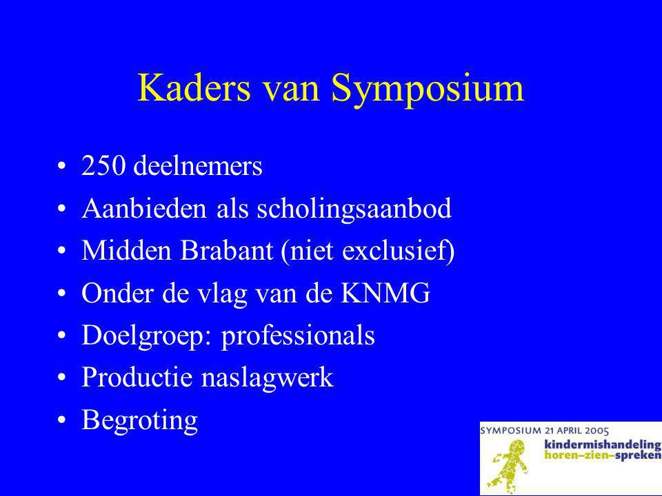 Kaders van Symposium •250 deelnemers •Aanbieden als scholingsaanbod •Midden Brabant (niet exclusief) •Onder de vlag van de KNMG •Doelgroep: professionals •Productie naslagwerk •Begroting