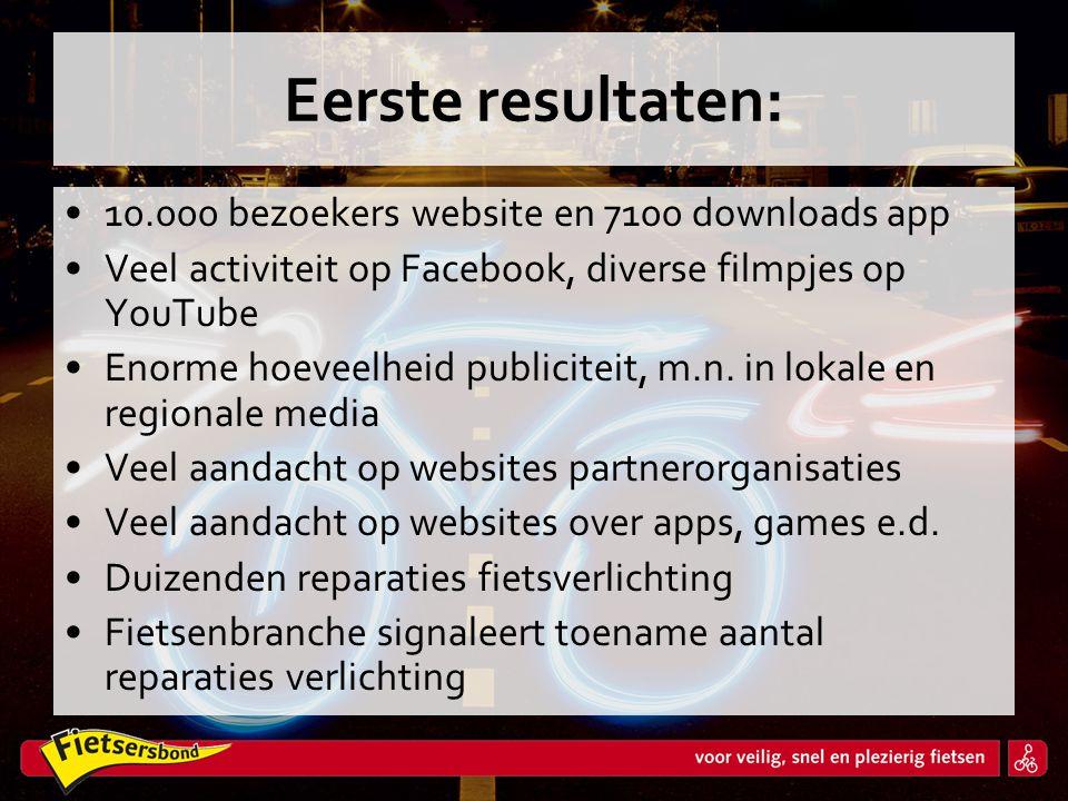 Eerste resultaten: •10.000 bezoekers website en 7100 downloads app •Veel activiteit op Facebook, diverse filmpjes op YouTube •Enorme hoeveelheid publi