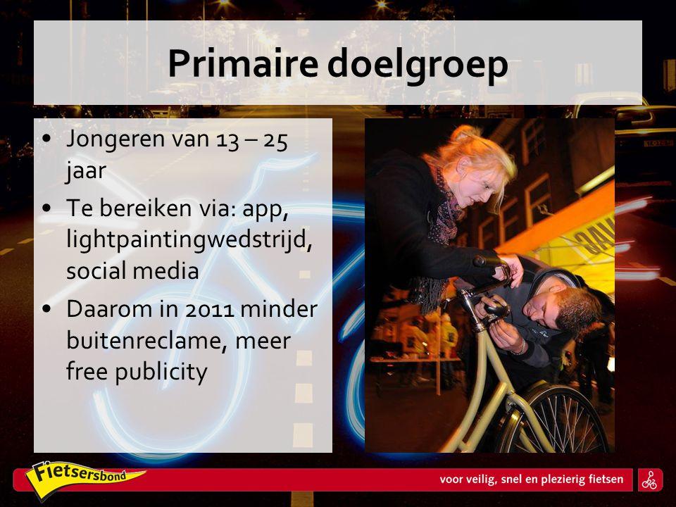 Primaire doelgroep •Jongeren van 13 – 25 jaar •Te bereiken via: app, lightpaintingwedstrijd, social media •Daarom in 2011 minder buitenreclame, meer f