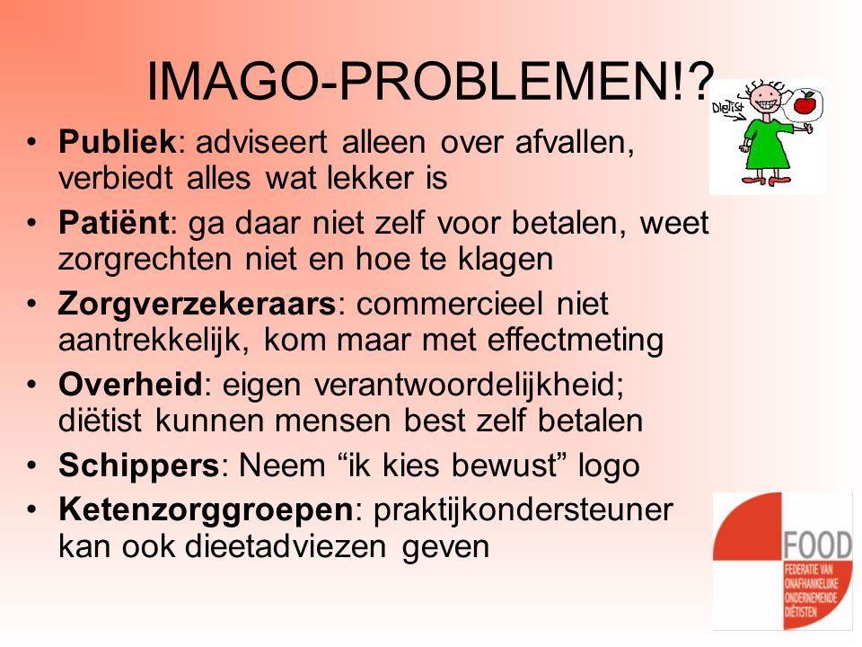 IMAGO-PROBLEMEN!? •Publiek: adviseert alleen over afvallen, verbiedt alles wat lekker is •Patiënt: ga daar niet zelf voor betalen, weet zorgrechten ni