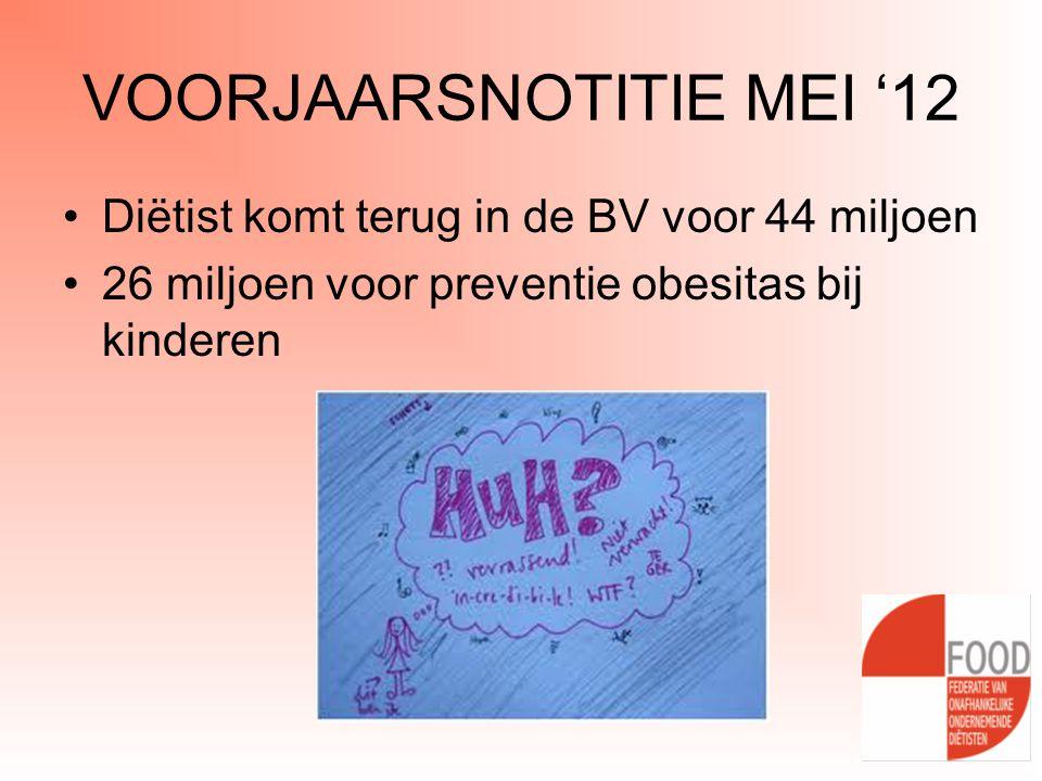 VOORJAARSNOTITIE MEI '12 •Diëtist komt terug in de BV voor 44 miljoen •26 miljoen voor preventie obesitas bij kinderen