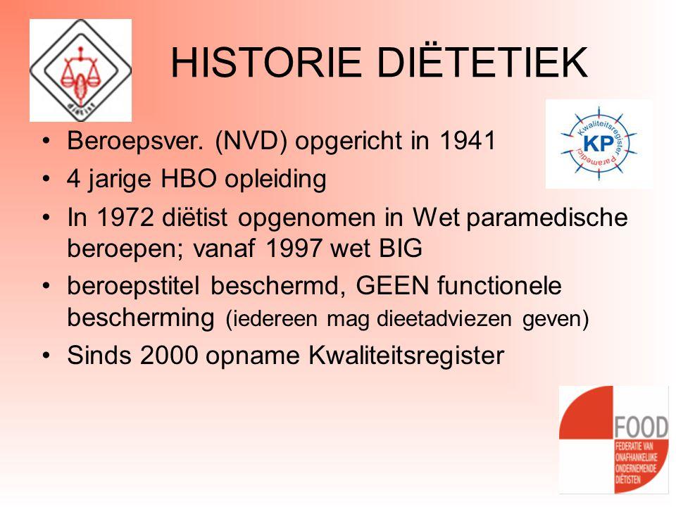 HISTORIE DIËTETIEK •Beroepsver. (NVD) opgericht in 1941 •4 jarige HBO opleiding •In 1972 diëtist opgenomen in Wet paramedische beroepen; vanaf 1997 we