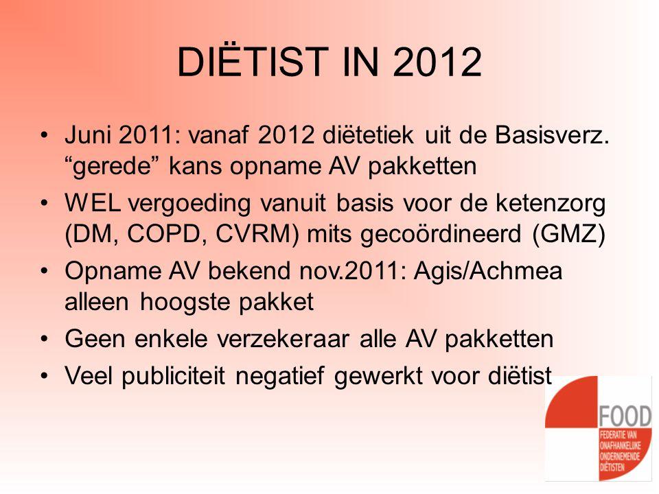 """DIËTIST IN 2012 •Juni 2011: vanaf 2012 diëtetiek uit de Basisverz. """"gerede"""" kans opname AV pakketten •WEL vergoeding vanuit basis voor de ketenzorg (D"""
