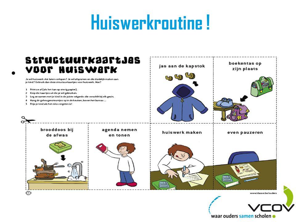 Huiswerkroutine ! • Gunstige Uitstelgedrag niet toleren!