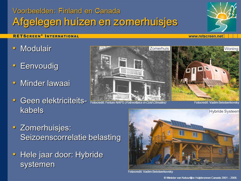 © Minister van Natuurlijke Hulpbronnen Canada 2001 – 2006. Voorbeelden: Finland en Canada Afgelegen huizen en zomerhuisjes • Modulair • Eenvoudig • Mi