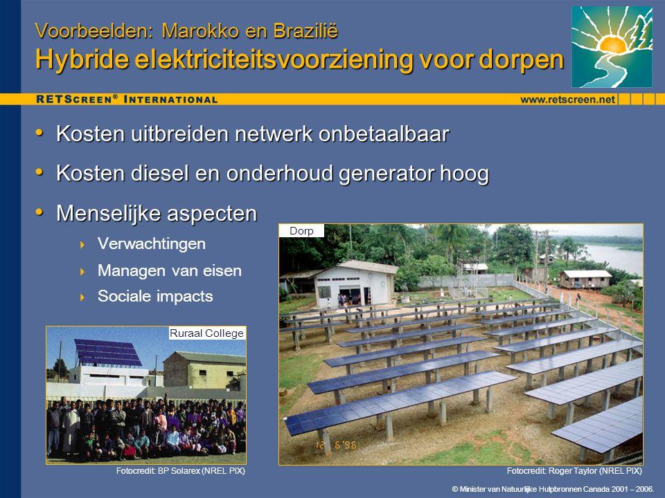 © Minister van Natuurlijke Hulpbronnen Canada 2001 – 2006. Voorbeelden: Marokko en Brazilië Hybride elektriciteitsvoorziening voor dorpen • Kosten uit