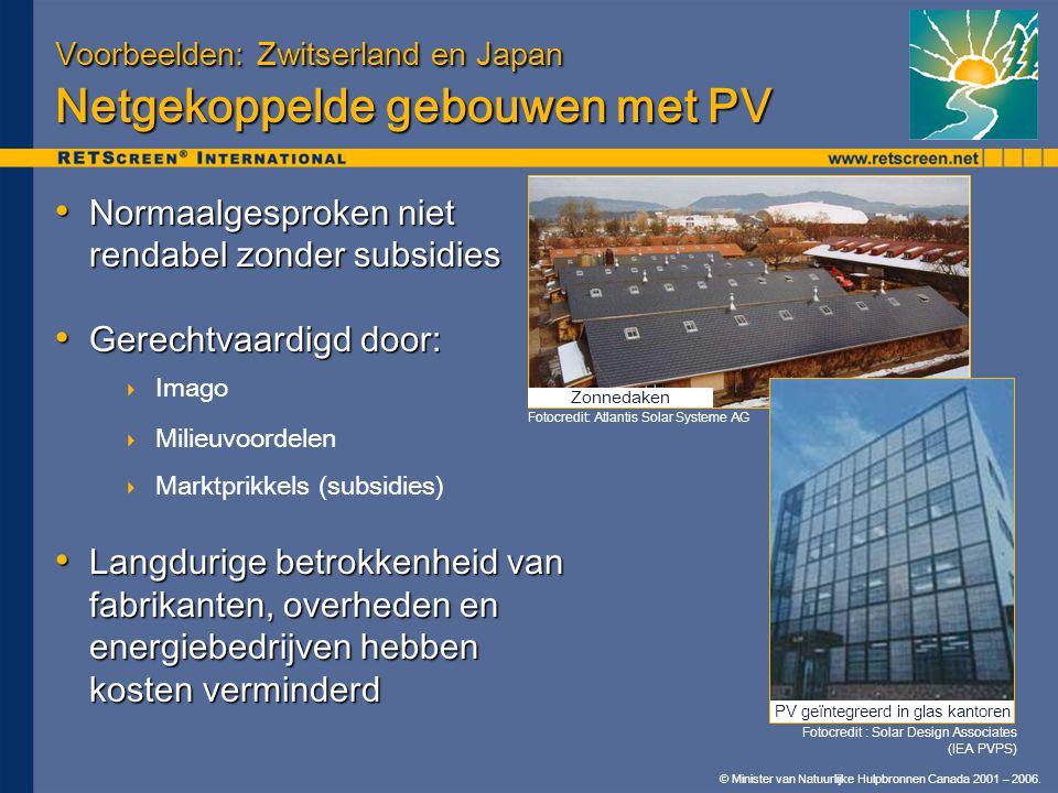 © Minister van Natuurlijke Hulpbronnen Canada 2001 – 2006. Voorbeelden: Zwitserland en Japan Netgekoppelde gebouwen met PV • Normaalgesproken niet ren