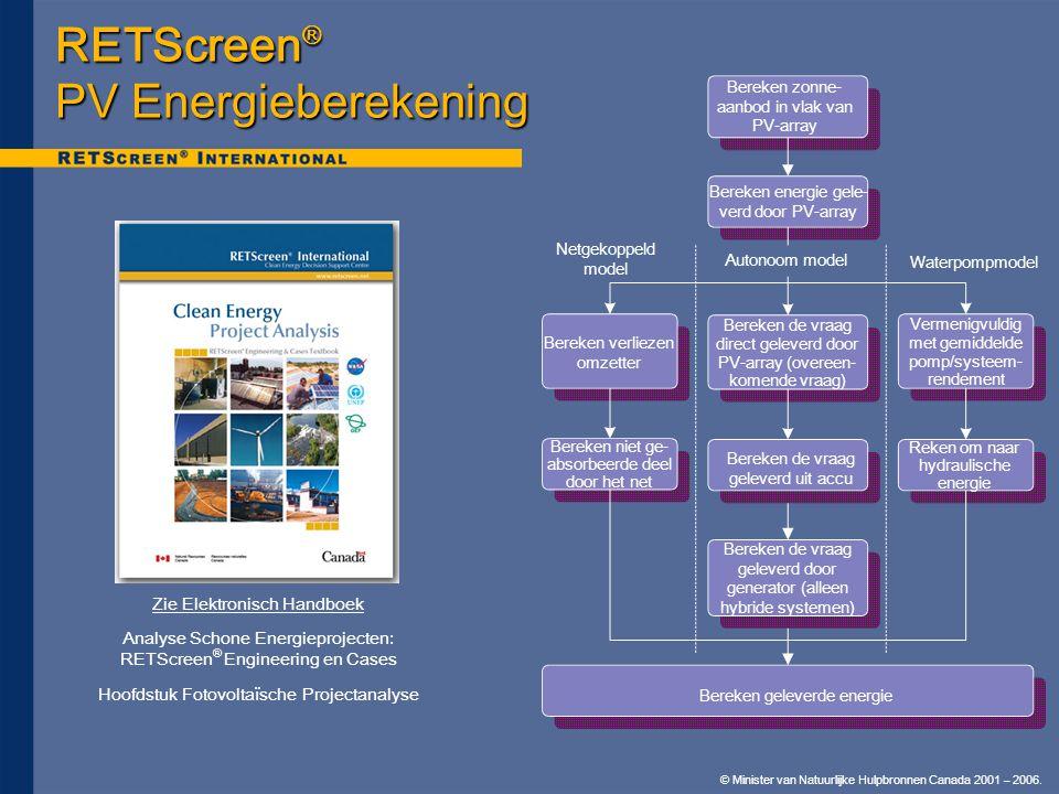 © Minister van Natuurlijke Hulpbronnen Canada 2001 – 2006. RETScreen ® PV Energieberekening Bereken zonne- aanbod in vlak van PV-array Bereken verliez