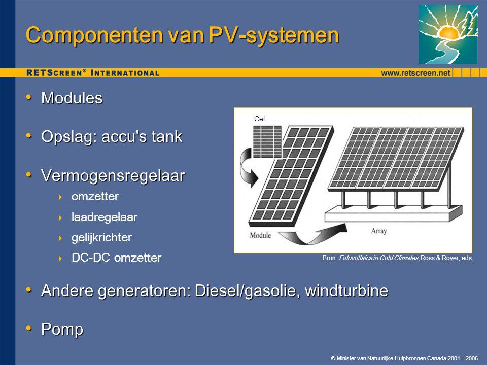 © Minister van Natuurlijke Hulpbronnen Canada 2001 – 2006. Componenten van PV-systemen • Modules • Opslag: accu's tank • Vermogensregelaar  omzetter