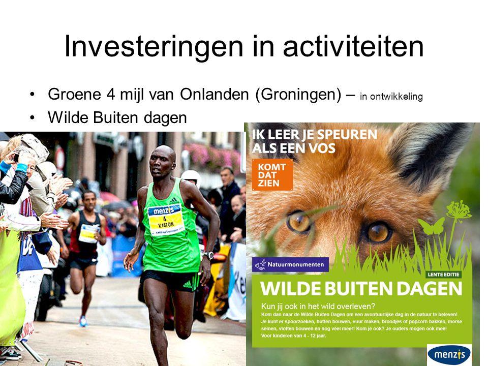 Investeringen in activiteiten •Groene 4 mijl van Onlanden (Groningen) – in ontwikkeling •Wilde Buiten dagen
