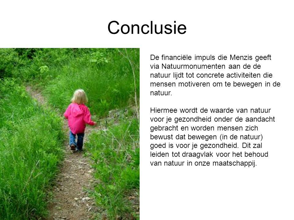 Conclusie De financiële impuls die Menzis geeft via Natuurmonumenten aan de de natuur lijdt tot concrete activiteiten die mensen motiveren om te beweg