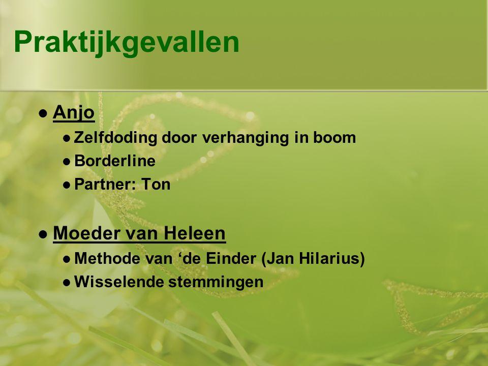 Praktijkgevallen  Anjo  Zelfdoding door verhanging in boom  Borderline  Partner: Ton  Moeder van Heleen  Methode van 'de Einder (Jan Hilarius)  Wisselende stemmingen