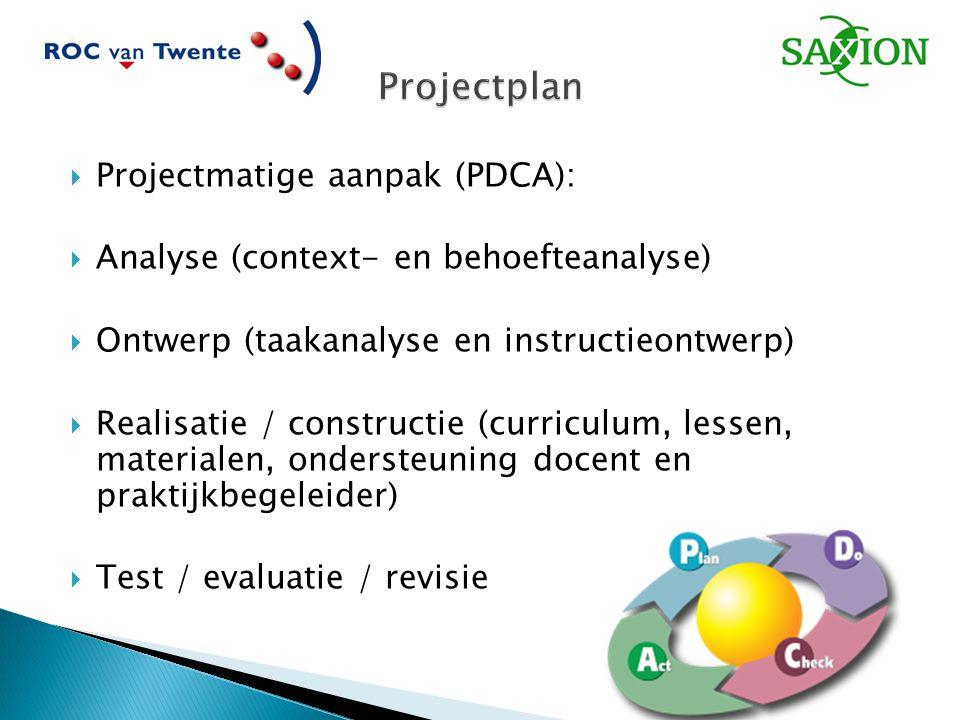  Projectmatige aanpak (PDCA):  Analyse (context- en behoefteanalyse)  Ontwerp (taakanalyse en instructieontwerp)  Realisatie / constructie (curriculum, lessen, materialen, ondersteuning docent en praktijkbegeleider)  Test / evaluatie / revisie