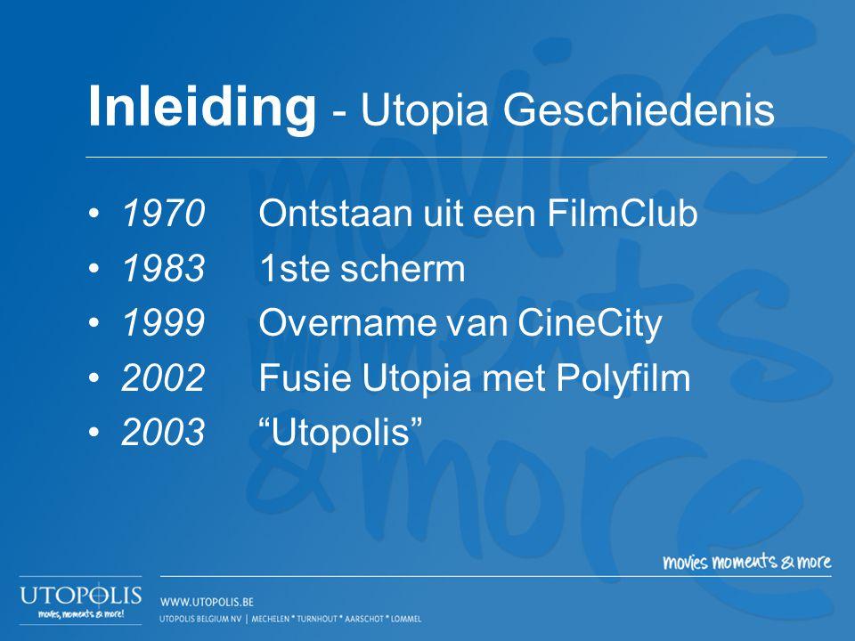 """•1970Ontstaan uit een FilmClub •19831ste scherm •1999Overname van CineCity •2002Fusie Utopia met Polyfilm •2003 """"Utopolis"""" Inleiding - Utopia Geschied"""