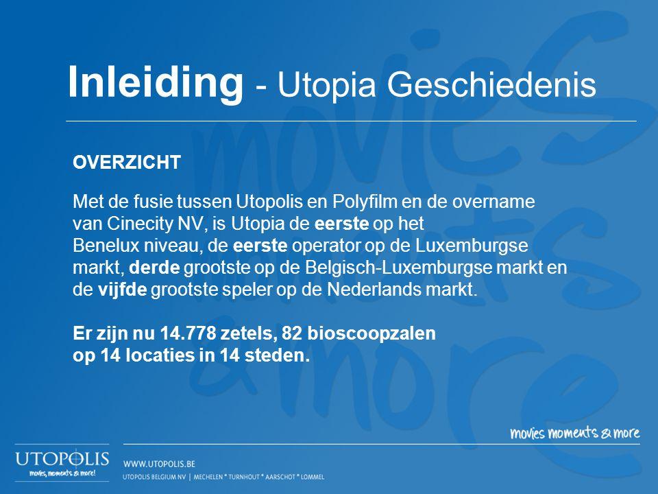 OVERZICHT Met de fusie tussen Utopolis en Polyfilm en de overname van Cinecity NV, is Utopia de eerste op het Benelux niveau, de eerste operator op de