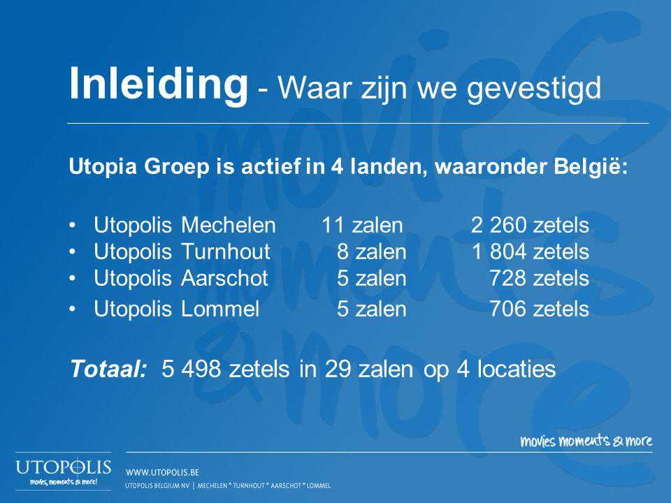 Utopia Groep is actief in 4 landen, waaronder België: •Utopolis Mechelen 11 zalen2 260 zetels •Utopolis Turnhout8 zalen1 804 zetels •Utopolis Aarschot