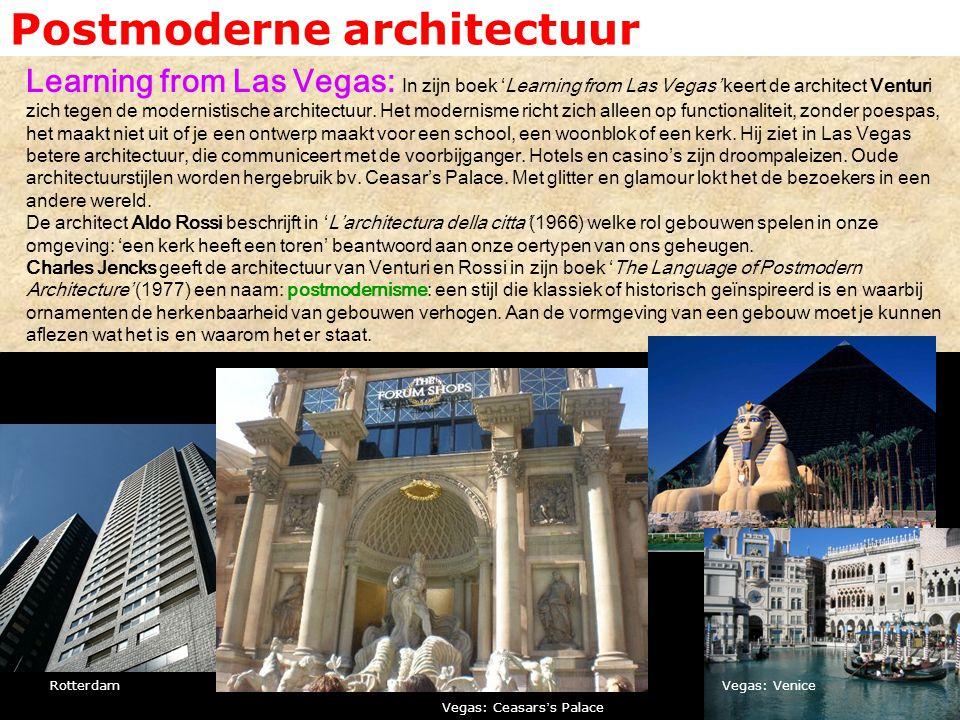 Postmoderne architectuur Learning from Las Vegas: In zijn boek 'Learning from Las Vegas' keert de architect Venturi zich tegen de modernistische archi