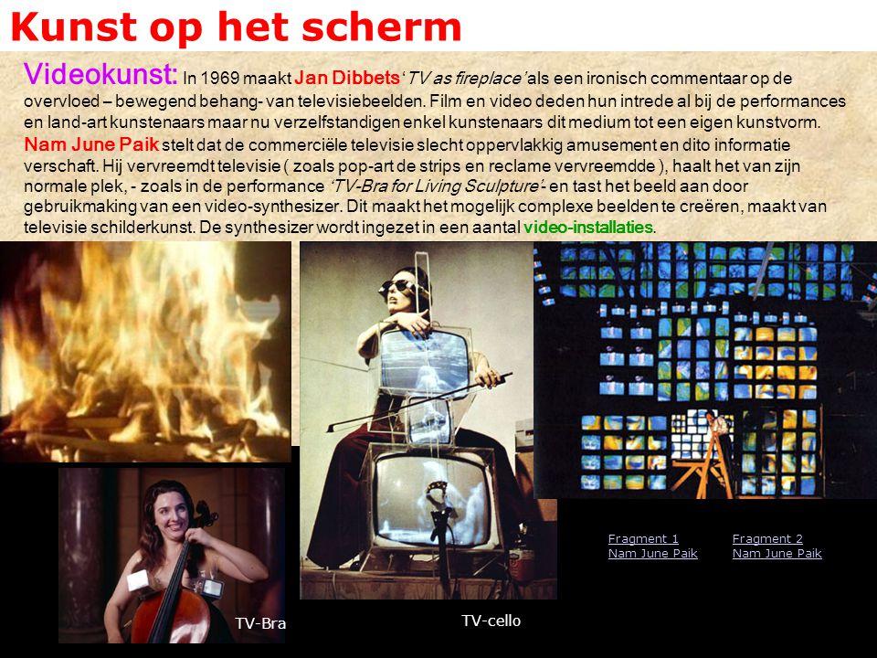 Kunst op het scherm Videokunst: In 1969 maakt Jan Dibbets 'TV as fireplace' als een ironisch commentaar op de overvloed – bewegend behang- van televis