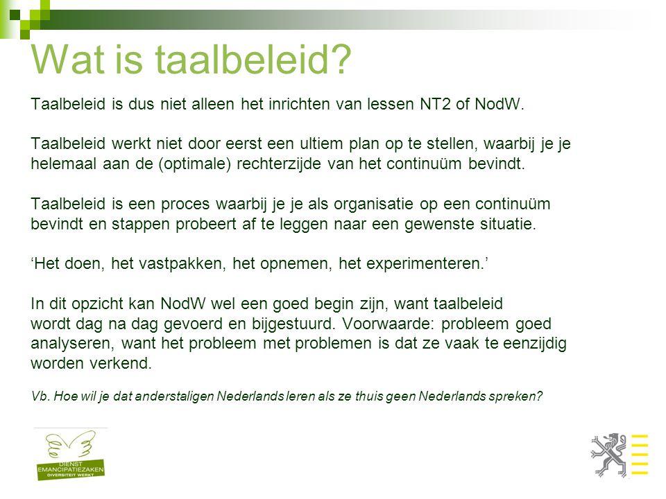 Wat is taalbeleid? Taalbeleid is dus niet alleen het inrichten van lessen NT2 of NodW. Taalbeleid werkt niet door eerst een ultiem plan op te stellen,