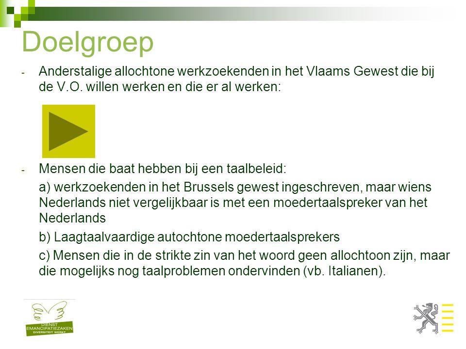 Doelgroep - Anderstalige allochtone werkzoekenden in het Vlaams Gewest die bij de V.O. willen werken en die er al werken: - Mensen die baat hebben bij