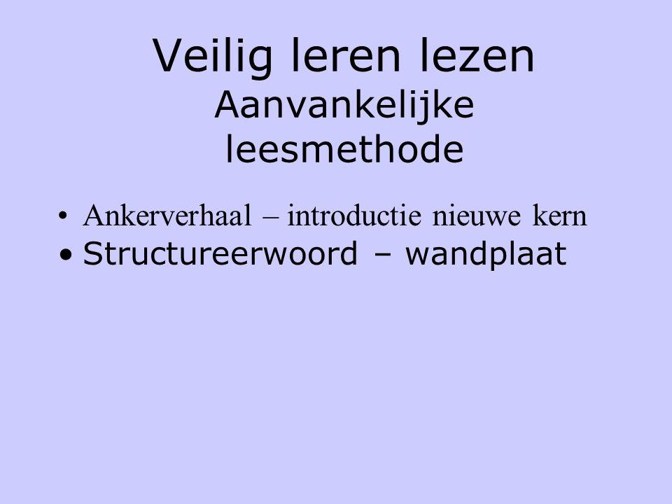 Veilig leren lezen Aanvankelijke leesmethode •Ankerverhaal – introductie nieuwe kern •Structureerwoord – wandplaat