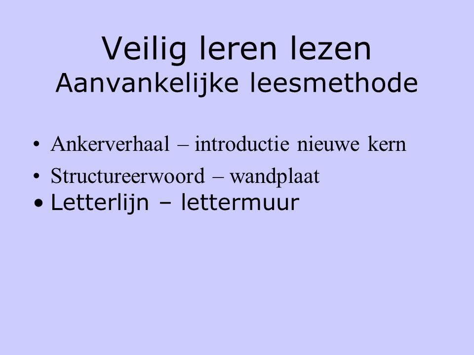 Veilig leren lezen Aanvankelijke leesmethode •Ankerverhaal – introductie nieuwe kern •Structureerwoord – wandplaat •Letterlijn – lettermuur