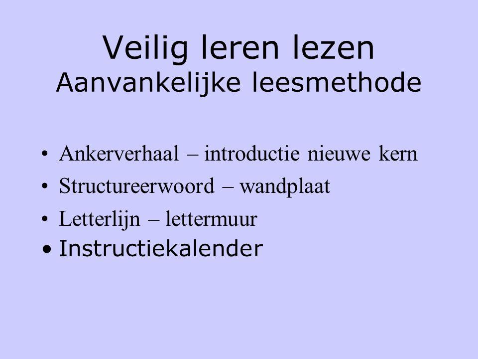 Veilig leren lezen Aanvankelijke leesmethode •Ankerverhaal – introductie nieuwe kern •Structureerwoord – wandplaat •Letterlijn – lettermuur •Instructiekalender