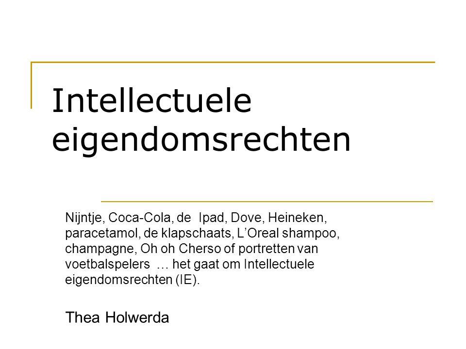 Intellectuele eigendomsrechten Nijntje, Coca-Cola, de Ipad, Dove, Heineken, paracetamol, de klapschaats, L'Oreal shampoo, champagne, Oh oh Cherso of p