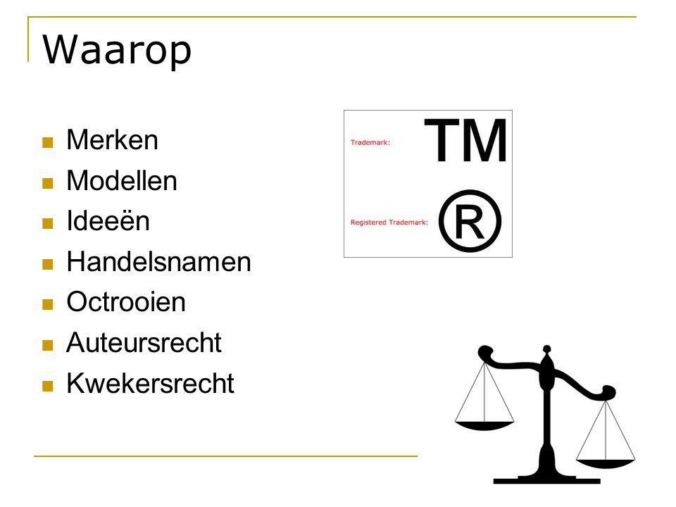 Waarop  Merken  Modellen  Ideeën  Handelsnamen  Octrooien  Auteursrecht  Kwekersrecht