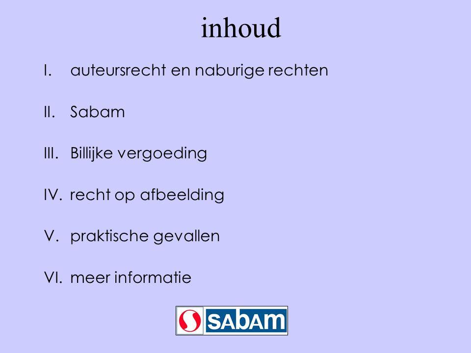 inhoud I.auteursrecht en naburige rechten II.Sabam III.Billijke vergoeding IV.recht op afbeelding V.praktische gevallen VI.meer informatie