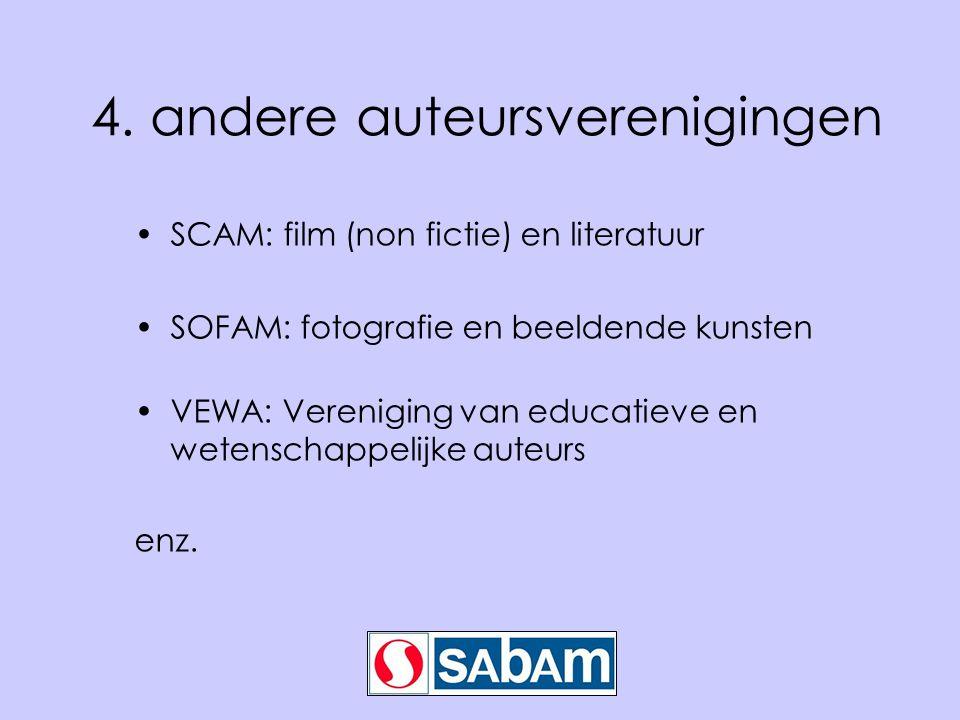 4. andere auteursverenigingen •SCAM: film (non fictie) en literatuur •SOFAM: fotografie en beeldende kunsten •VEWA: Vereniging van educatieve en weten