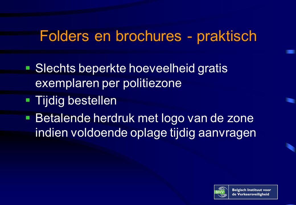 Folders en brochures - praktisch  Slechts beperkte hoeveelheid gratis exemplaren per politiezone  Tijdig bestellen  Betalende herdruk met logo van de zone indien voldoende oplage tijdig aanvragen