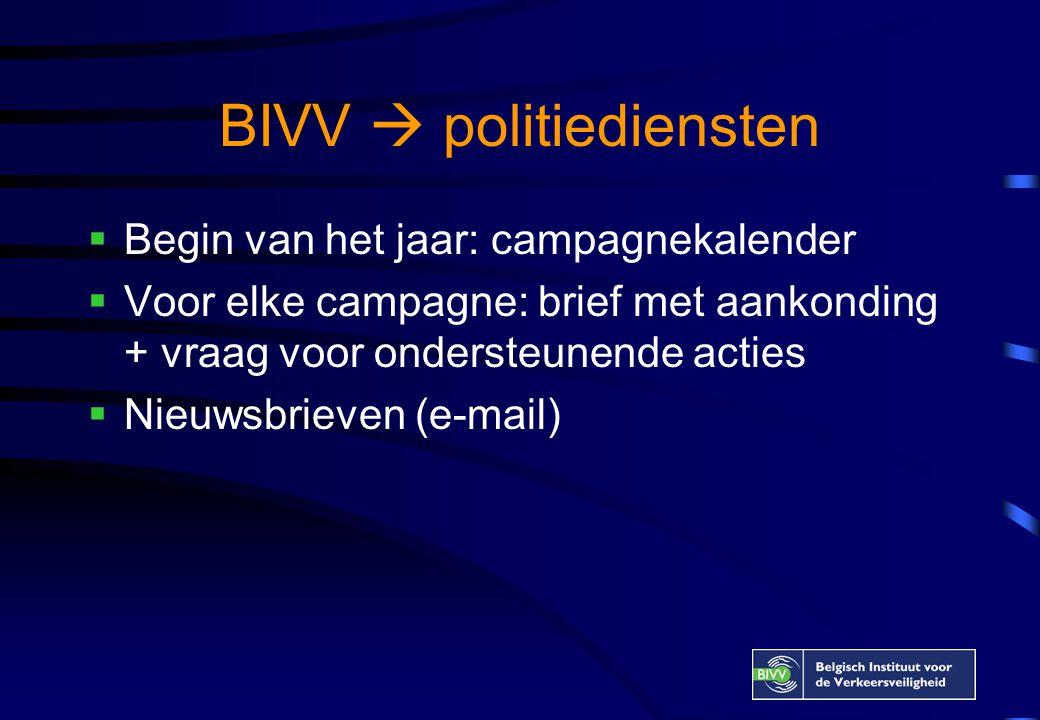 BIVV  politiediensten  Begin van het jaar: campagnekalender  Voor elke campagne: brief met aankonding + vraag voor ondersteunende acties  Nieuwsbrieven (e-mail)