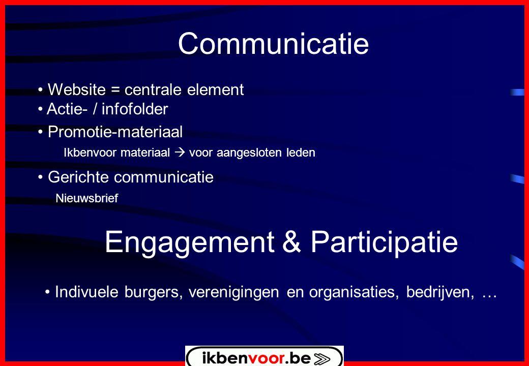 Communicatie • Website = centrale element • Actie- / infofolder • Promotie-materiaal Ikbenvoor materiaal  voor aangesloten leden • Gerichte communicatie Nieuwsbrief Engagement & Participatie • Indivuele burgers, verenigingen en organisaties, bedrijven, …