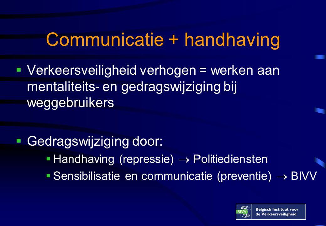 Communicatie + handhaving  Verkeersveiligheid verhogen = werken aan mentaliteits- en gedragswijziging bij weggebruikers  Gedragswijziging door:  Handhaving (repressie)  Politiediensten  Sensibilisatie en communicatie (preventie)  BIVV
