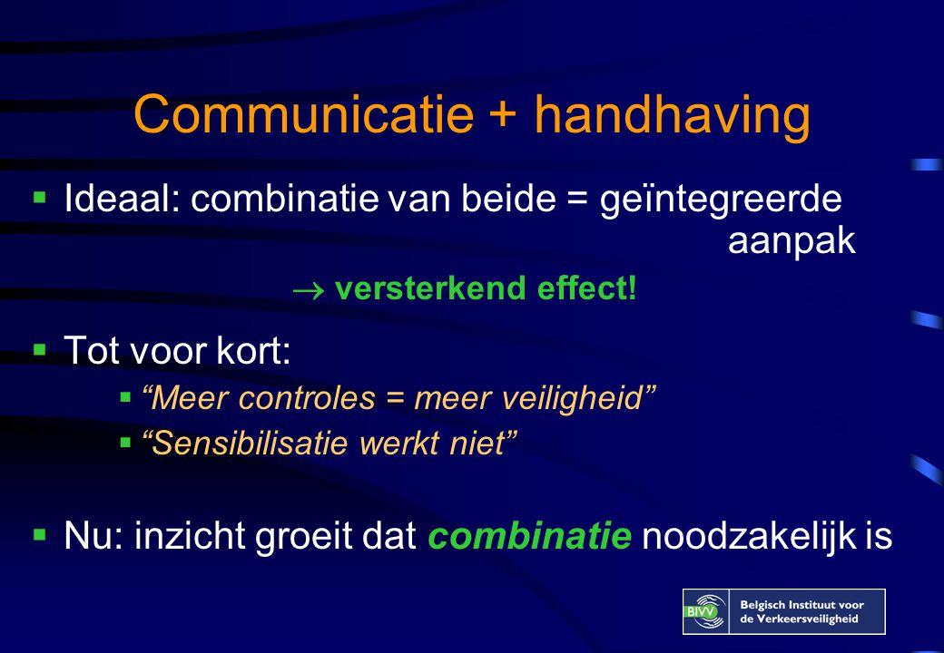 Meer controles = meer veiligheid Maar… •Indien geen communicatie, slechts tijdelijk effect (gebrek aan draagvlak  zakkenvullers ) •Meer effect indien handhavingscommunicatie aanwezig (bv.