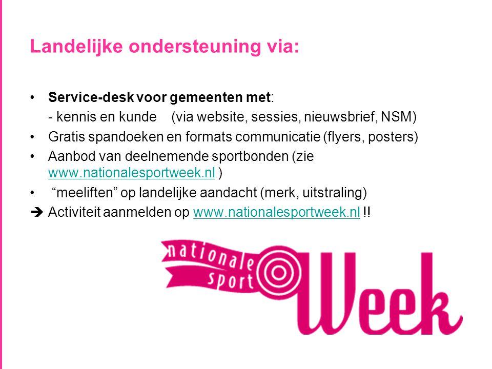 Landelijke ondersteuning via: •Service-desk voor gemeenten met: - kennis en kunde (via website, sessies, nieuwsbrief, NSM) •Gratis spandoeken en formats communicatie (flyers, posters) •Aanbod van deelnemende sportbonden (zie www.nationalesportweek.nl ) www.nationalesportweek.nl • meeliften op landelijke aandacht (merk, uitstraling)  Activiteit aanmelden op www.nationalesportweek.nl !!www.nationalesportweek.nl