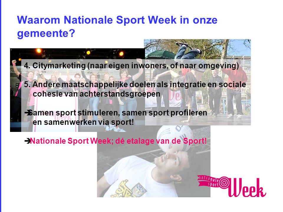Waarom Nationale Sport Week in onze gemeente. 4.