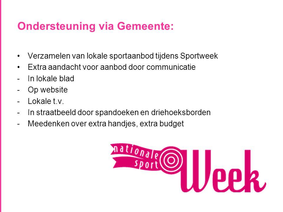 Ondersteuning via Gemeente: •Verzamelen van lokale sportaanbod tijdens Sportweek •Extra aandacht voor aanbod door communicatie -In lokale blad -Op website -Lokale t.v.