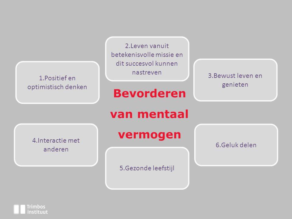 Bevorderen van mentaal vermogen 2.Leven vanuit betekenisvolle missie en dit succesvol kunnen nastreven 1.Positief en optimistisch denken 3.Bewust leve