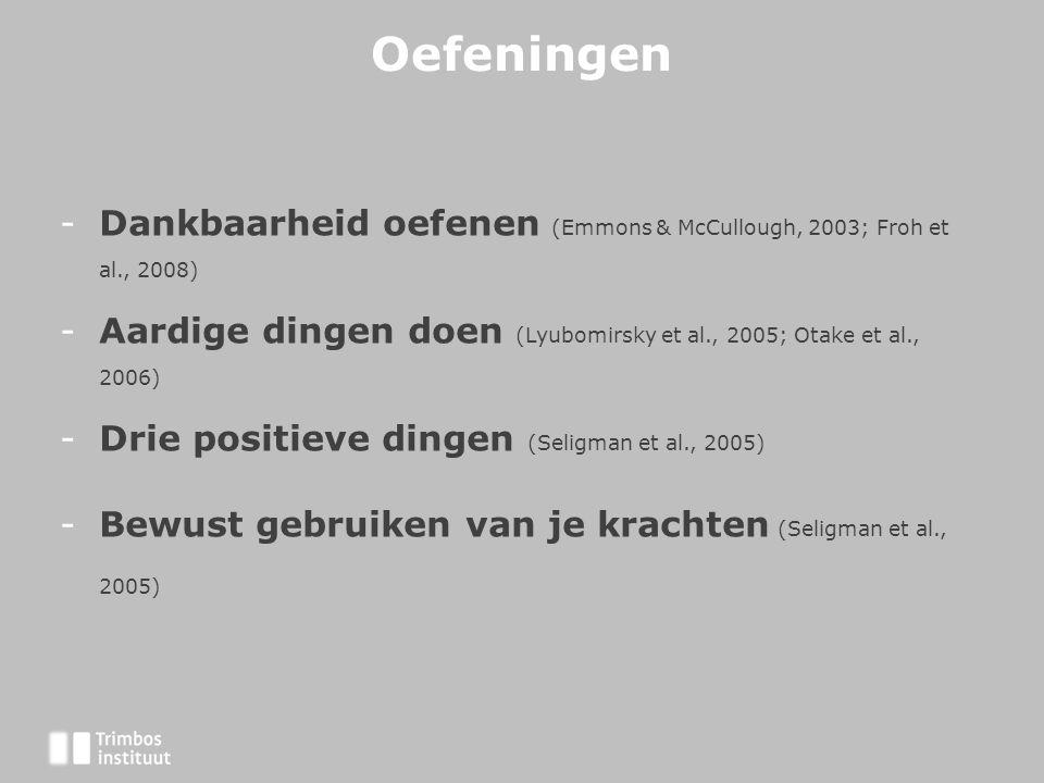 Oefeningen -Dankbaarheid oefenen (Emmons & McCullough, 2003; Froh et al., 2008) -Aardige dingen doen (Lyubomirsky et al., 2005; Otake et al., 2006) -Drie positieve dingen (Seligman et al., 2005) -Bewust gebruiken van je krachten (Seligman et al., 2005)